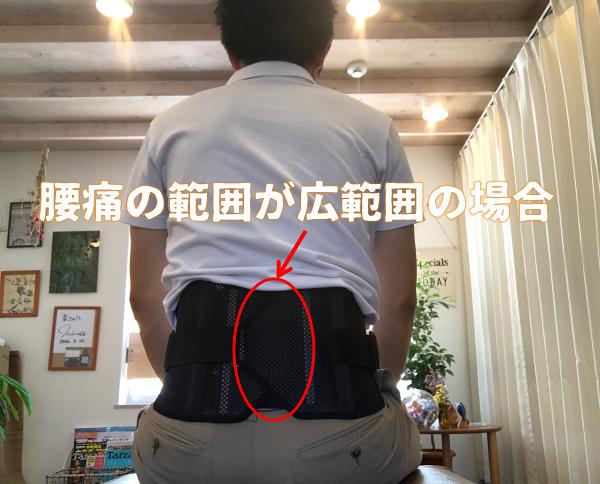 腰に広範囲の痛みがある。