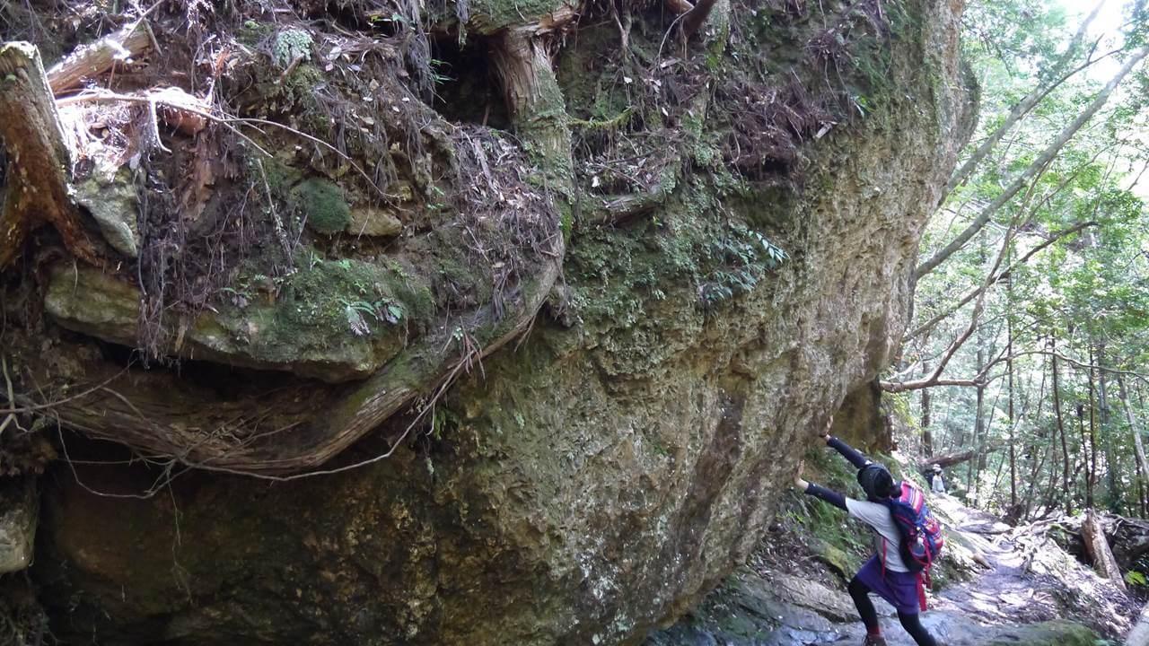 岩を支える
