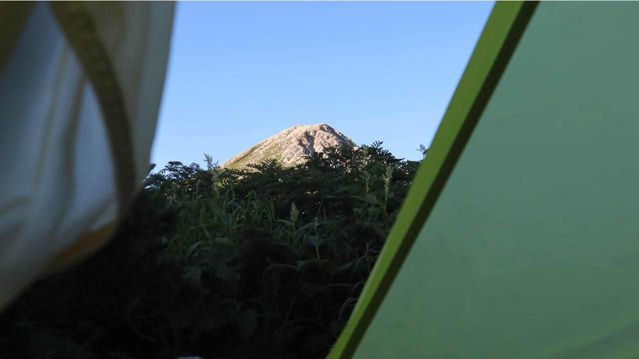 テントから見る鷲羽岳