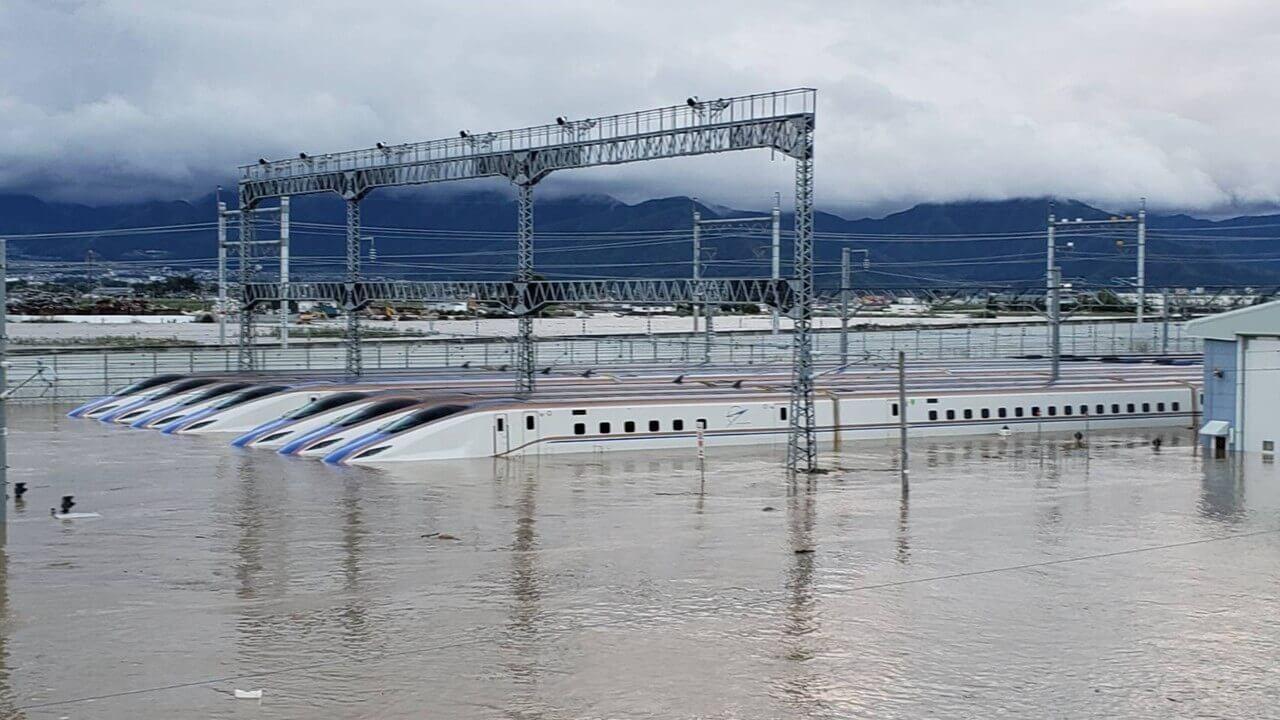 新幹線基地の水没